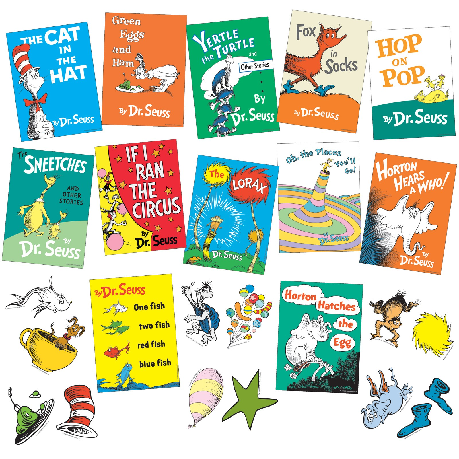 Dr. Seuss Set of 14 Books: Bright and Early Beginning and I Can Read It All By Myself (Fox in Socks, Green Eggs and Ham, Hop on Pop, Are You My Mother, Cat in the Hat, Cat in the Hat Comes Back, A People House, Wocket in my Pocket, One Fish Two Fish, Foot Book, Marvin K. Mooney, I Can Read Eyes Shut, A Book, B Book).